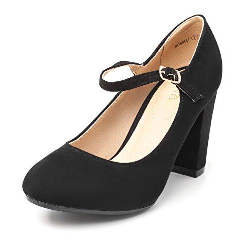 (DREAM PAIRS Women's ROSALLI Black Suede High Chunky Heel Pump Shoes - 7 B(M) US)