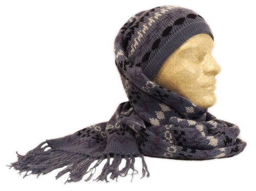 Peruvian Hat (Chullo) and Scarf One Piece Alpaca and Sheep Wool.