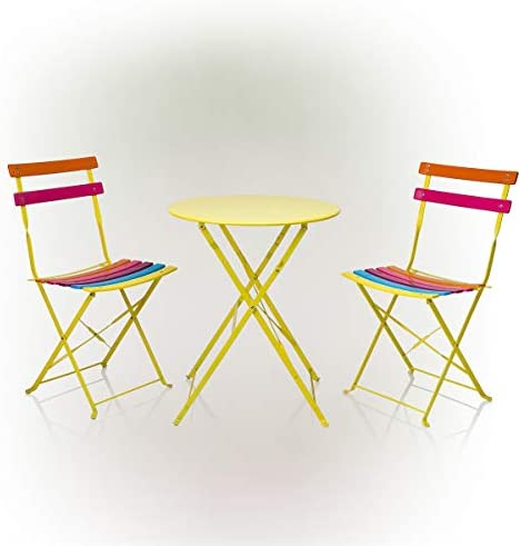 Alpine Corporation MSY114A Rainbow Metal Bistro Set w/Table and Two Chair