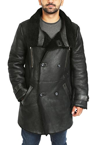 Shearling Fur Mens Sheepskin Jacket Long Reefer Breasted Bryan Coat Black Double Real 4Owq8z4U