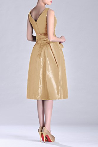 bridesmaids neck line champagnerfarben V Formal Tea Taffeta Modest Dress Pleated A Length Bridesmaid Cqw1nZx6