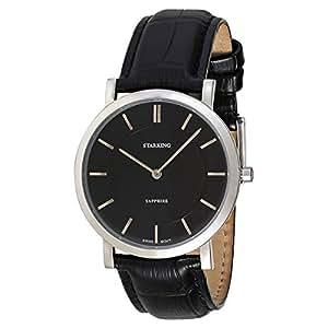 Starking Men's Black Dial Leather Band Watch - BM0868SL22