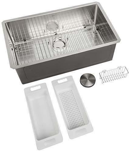 "Zuhne 32-Inch Single Bowl Undermount Stainless Steel Kitchen Sink, Strainer, Grid, Caddy, Colander, Install Kit for 36"" Cabinet (16-Gauge Modena32x19)"