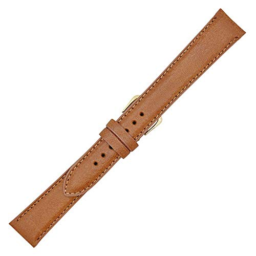 16mm Long Tan Genuine Montana Leather Watch Band Strap - Padded Stitched - American Factory Direct - Gold and Silver Buckles Included - Made in USA by Real Leather Creations FBA953