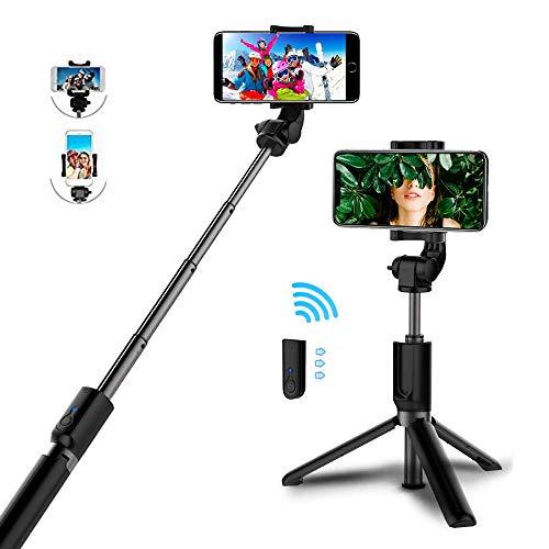 (Marrrch Selfie Stick Tripod, Bluetooth Selfie Stick with Tripod Detachable Remote,Extendable Monopod Compatible iPhone X/8 Plus/7 Plus/6S Plus, Galaxy S9 Plus/Note 8 with Charging Cable (Black))