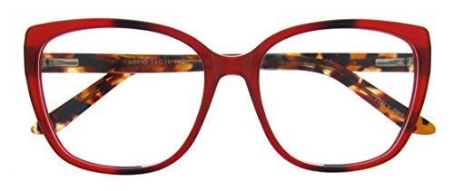 Eyeglasses With Clear Lenses OCCI CHIARI Fashion APPIO Acetate Frame (Red, - Red Frames Mens Eyeglass