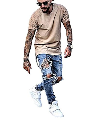 Men's Blue Ripped Distressed Destroyed Zipper Skinny Slim Fit Jeans with Knee Rips W32