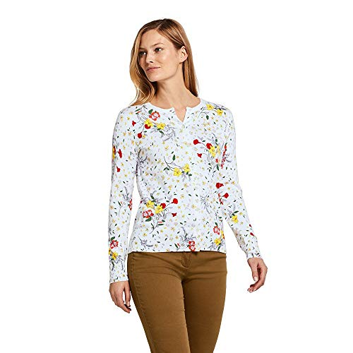 Lands' End Women's Supima Cotton Cardigan Sweater, S, White Floral