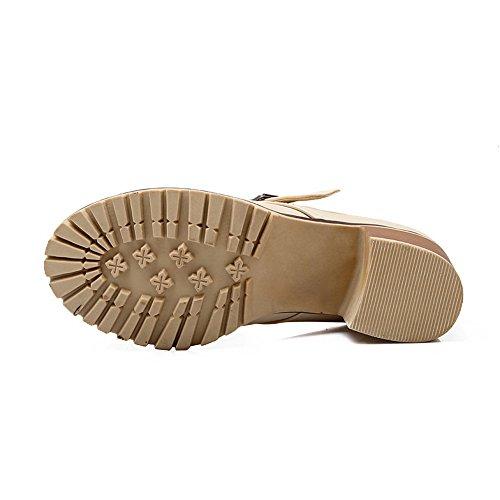 BalaMasa donna kitten-heels fibbia imitato in pelle pumps-shoes, Beige (Beige), 35 EU