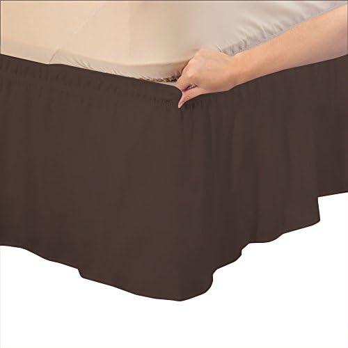 RELAXARE 500tc 100%エジプト綿1Wrap Aroundベッドスカートソリッド(ドロップ長: 18インチ–ウルトラソフト通気性プレミアムファブリック クイーン RE51PCWBPBS18INQMASO-QIN