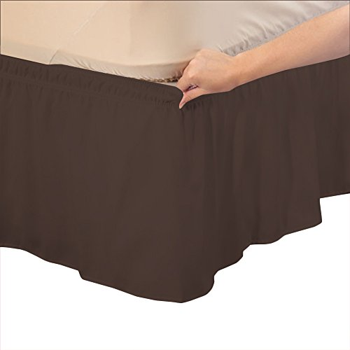 Chocolate Suede King Bedskirt - Relaxare Short King 800TC 100% Egyptian Cotton Chocolate Solid 1PCs Wrap Around Bedskirt Solid (Drop Length: 14 inches) - Ultra Soft Breathable Premium Fabric