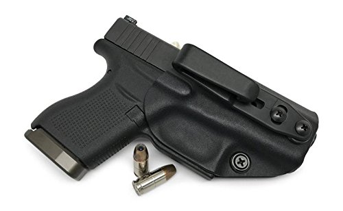 Concealment Express: Glock G43 Tuckable Ambidextrous IWB KYDEX Holster - Custom Fit - US Made - Concealed Carry Holster - Fully Adjustable (BLK, Tuck)