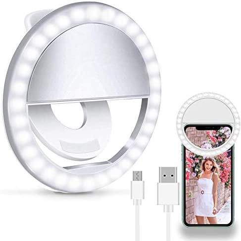 Selfie Ring Light, Clip On Ring Light for Laptop with 36 Rechargeable LED Portable Clip on Ring Light for iPhone & Android Smart Phone, Pads, Makeup Mirrors,Cameras for Photography [3 Light Modes]