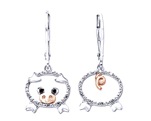 Diamond Accent Pig Lever Back Earrings In 14K Gold Over Sterling Silver
