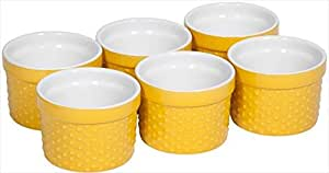 Home Essentials Set of 6 Mini Stoneware Hobnail 6 oz Ramekins - Textured Porcelain, Mousse, Creme Brulee, Custard Cups, Baking, Souffles, Quiche Cups, Yellow - 4 Inches