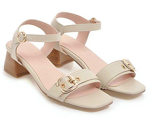 Aisun Women's Classic Open Toe Buckled Sandals Beige fgk4gT
