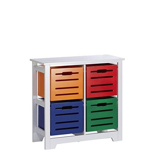 RiverRidge Cool Colors Collection Kids 4-Bin Storage Cabinet