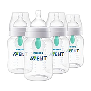 Philips Avent Anti-colic Baby Bottle with AirFree Vent, Clear, 9 Oz, 4 Pk, SCF403/44