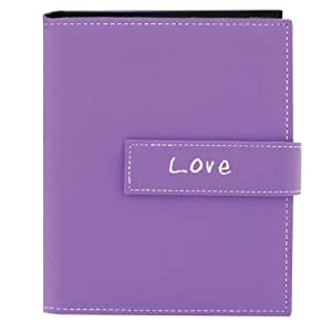 "Pioneer Photo Albums 36-Pocket 4 by 6-Inch Embroidered ""Love"" Strap Sewn Leatherette Cover Photo Album, Mini, Lavender"