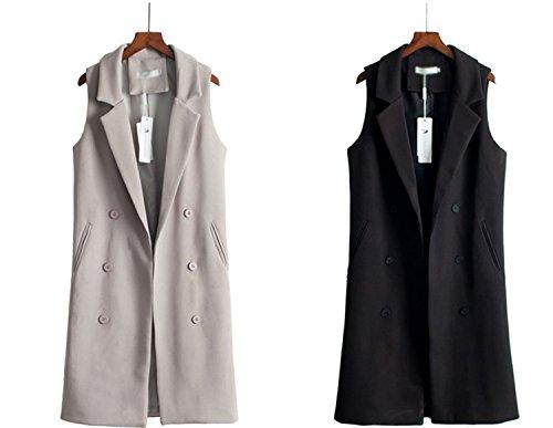 Caseminsto Black Long Vest Women 2017 Fashion Elegant Office Suits Grey M by Caseminsto (Image #4)