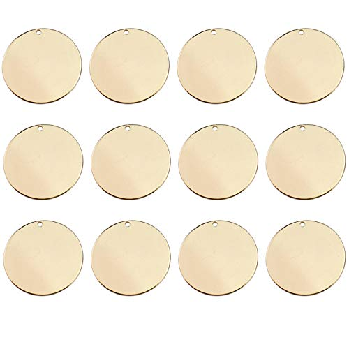 JETEHO Pack of 10 Rose Gold Plated Titanium Steel Round Circle Stamping Blank Tags for Metal Stamping, 1