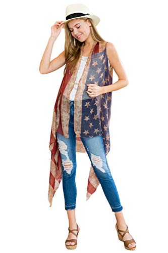 American Flag Print Cardigan - July 4th Independence USA Star Stripe Patriotic Shawl Open Kimono Cardi Wrap Long Vest (Long Vest - Rustic Flag) (Dress Scarf Collection)