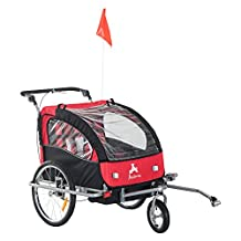 Aosom 3-in-1 Double Child Baby Bike Trailer Stroller & Jogger (Black/Red)