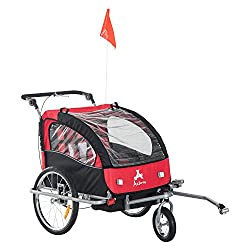Aosom Elite II 3-in-1 Double Child Bike Trailer/Stroller/Jogger Red/Black