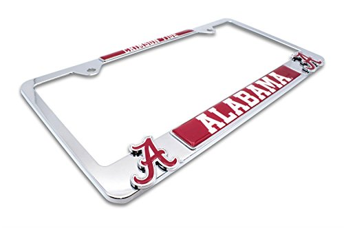 AMG Premium NCAA Mascot License Plate Frame w/Dual 3D Logos (Alabama)