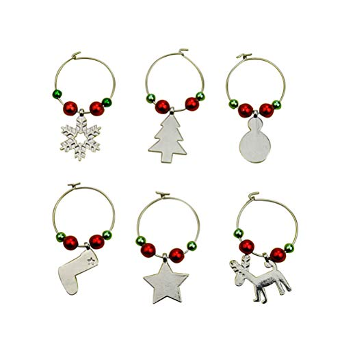 TINKSKY 6pcs Christmas Glass Charms Tags Wine Glass Goblet Markers Rings Drink Charms Party Supplies