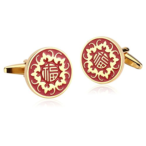 KnSam Stainless Steel Gold Red Round Engrave Chinese Word