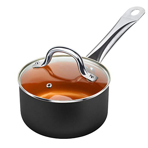 SHINEURI 1.5 qt. Copper Nonstick Saucepan, Ceramic Mini Saute Pan with Lid – forInduction, Gas,Electric&Stovetops , Perfect for 1 Person Meal (Black)
