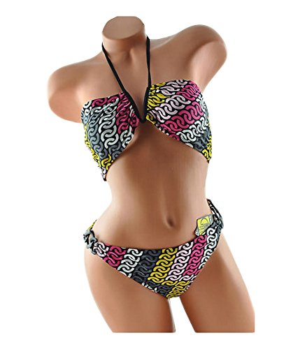 Body Glove Womens Halter Plastic Side Ring 2 Piece Bikini Black XL - Juniors