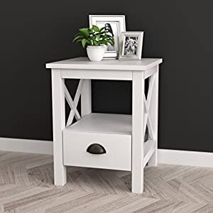 White Finish X-Design Nightstand Side End Table with Drawer and Shelf