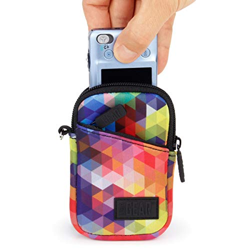 USA GEAR Compact Point and Shoot Small Camera Case Bag - Compatible with Canon PowerShot ELPH 190, G9X Mark II, Nikon Coolpix A300, Sony Cybershot DSC-W830, DSC-RX100, DSC-WX220 and More - Geometric