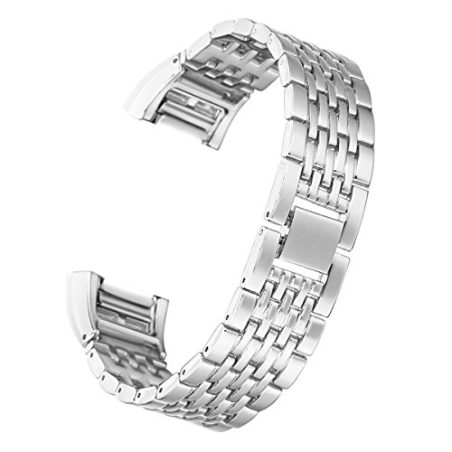 bayite Metal Bands Compatible Fitbit Charge 2, Replacement Accessories Bracelet, Silver