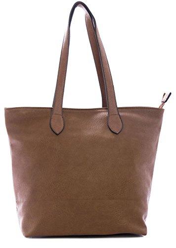 BHBS Bolso tipo Tote para Dama de Suave y Simple Diseño para Hombro 25x29x14 cm (LxAxP) - Medium Tan
