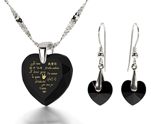 925 Silver I Love You Necklace 12 Languages Gold Inscribed Black CZ - Crystal Earring Heart Jewelry Set by Nano Jewelry