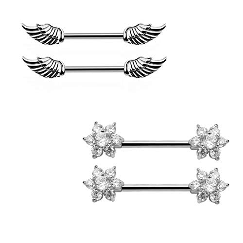 TOPBRIGHT 2 Pairs Stainless Steel Wing Nipple Rings CZ Crystal Flower Nipple Piercing Jewelry for Women -