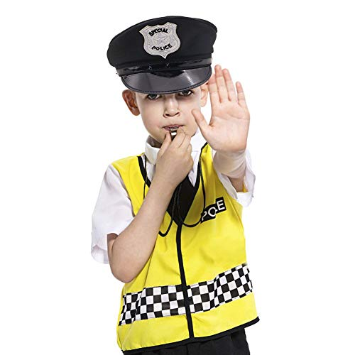 3 otters Police Accessories, Police Hat Party Cosplay Stage Cloth with Whistle & Handcuffs Costume Accessories for Kids, 4 PCS