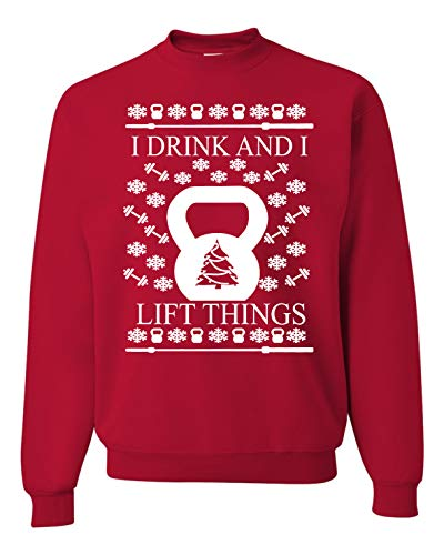 I Drink and I Lift Things Ugly Christmas Sweater Unisex Sweatshirt Cross Training Red (S)