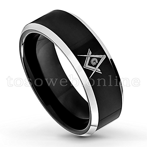 Men's Solid Tungsten Freemasonry Band, 8mm Comfort Fit Masonic Tungsten Ring, Black Ion Plated High Polish Laser Engraved Masonic Symbol Beveled Edge Tungsten Carbide Ring-s15 (Laser Carbide Tungsten Solid Ring)