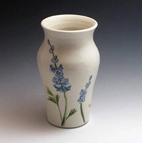Handmade porcelain vase handpainted in delphinium design