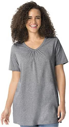 Women's Plus Size Top In Tunic Length, The Perfect Cotton V-Neck With Shirring