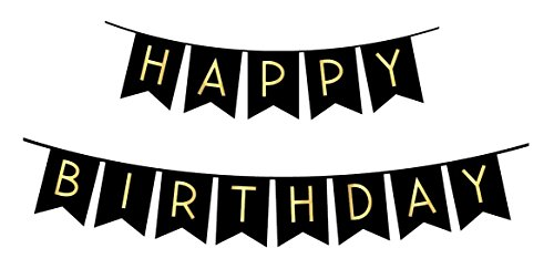 Black Happy Birthday Bunting Banner with Shimmering Gold Letters - Birthday Decorations - 21st - 30th - 40th - 50th Birthday Party Supplies