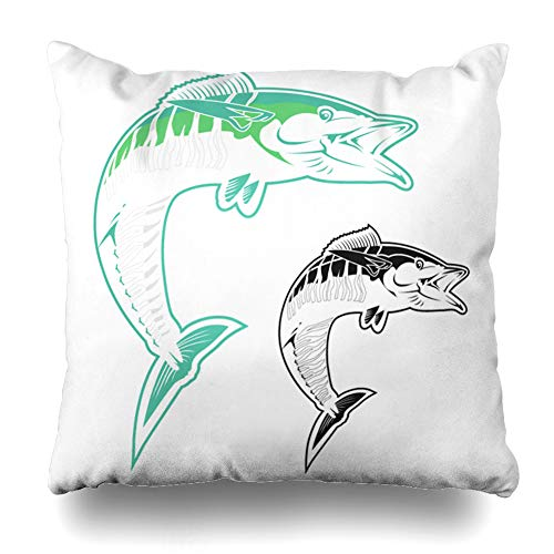 (Ahawoso Throw Pillow Cover Seafood Blue Atlantic Mackerel Fish Outline Set Abstract Bizarre Black Brine Drawing Design Scomber Home Decor Pillow Case Square Size 20 x 20 Inches Zippered)