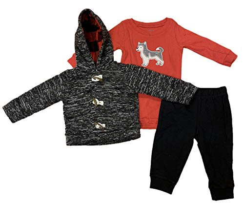 (Carter's Baby Boys' 3-Piece Sherpa-Lined Jacket, Pants, and Long Sleeve Bodysuit Set (Black Red Husky, 9 Months))