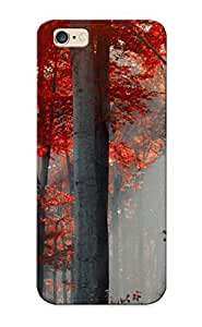 New Nature Landscapes Trees Forest Leaves Trunk Bark Autumn Fall Seasons Red Color Sunlight Sunbeam Beams Light Artdigital Tpu Case Cover, Anti-scratch Pirntalonzi Phone Case For Iphone 6 Plus