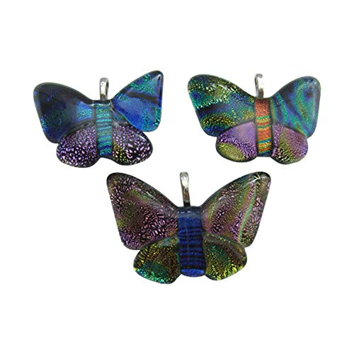 (B.D craft 5pcs 4mm Handmade Butterfly Dichroic Fused Glass Pendant Mixed Color Shining Dangle Charms for Jewelry Making Supplies&DIY Craft )
