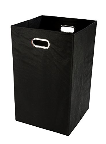 Modern Littles Smarty Pants Folding Laundry Basket, Solid Black (Flat Black Basket)